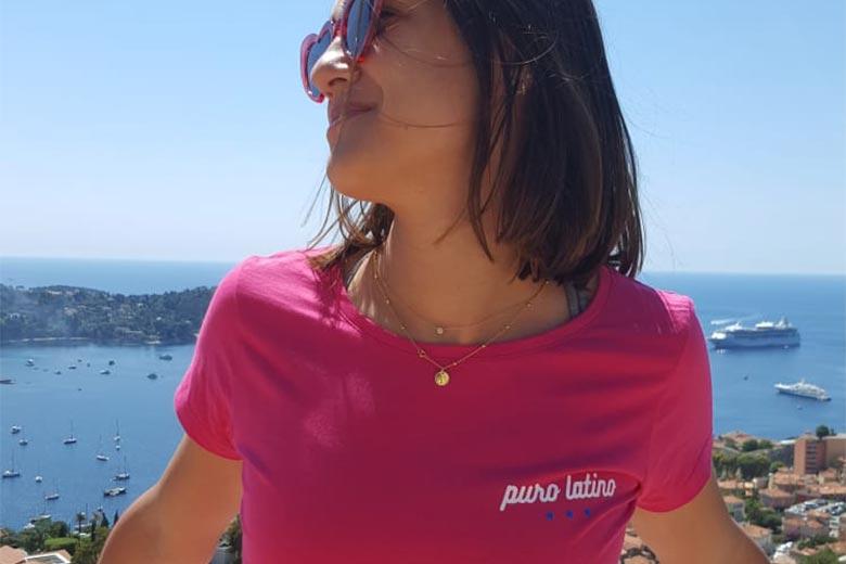 Puro Latino woman tee shirt pink