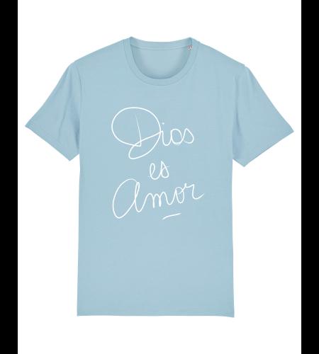 tshirt puro latino dios es amor bleu ciel