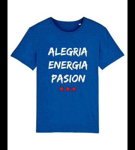 tshirt puro latino alegria energia pasion bleu roi