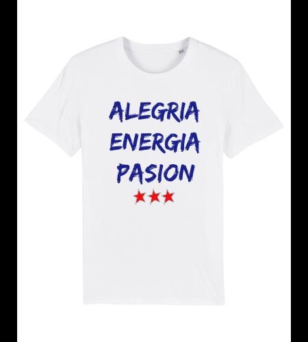 tshirt puro latino alegria energia pasion blanc