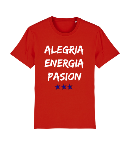 tshirt puro latino alegria energia pasion rouge blanc