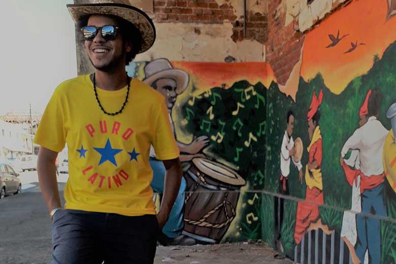 style puro latino tshirt homme jaune